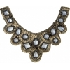 Motif Sequin/beads 27x11.5cm U Shape with crystal stones Bronze
